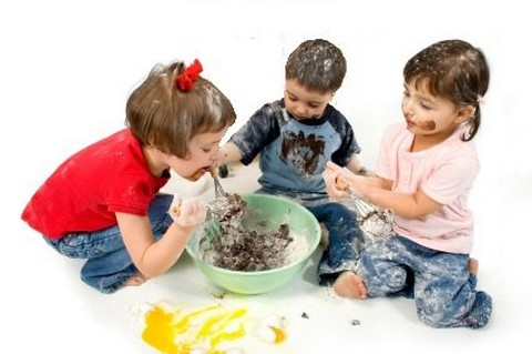 Children making a chocolate cake